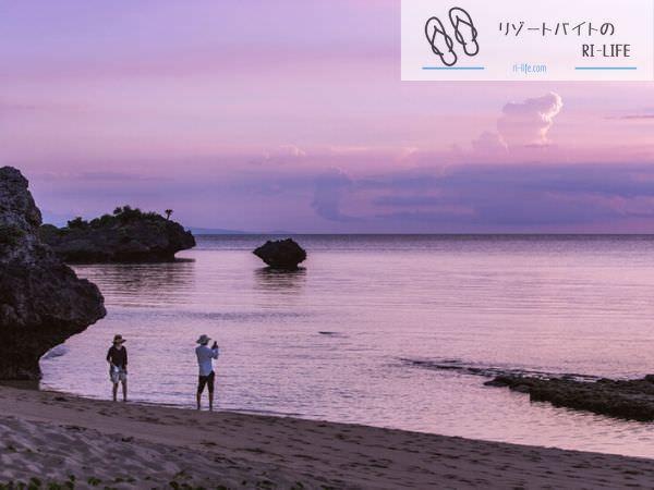 石垣島のビーチで見た夕焼け
