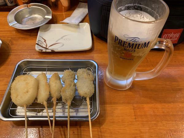 大阪リゾートバイトの休日に食べた串カツとビール