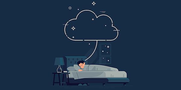 ベッドで寝ている男性のイラスト